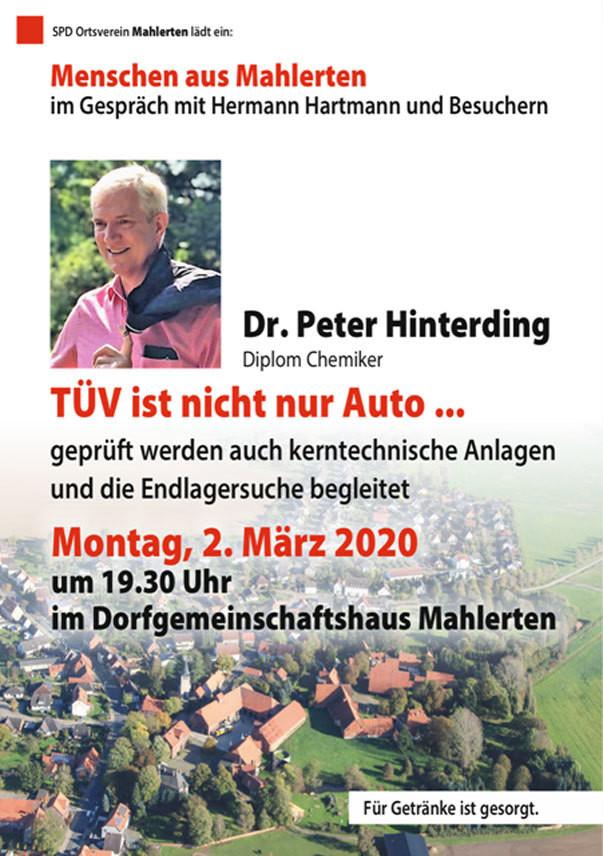 Einladung zum Gespräch mit Dr. Peter Hinterding